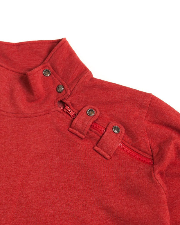 Red Men's Asymmetrical Zip Sweatshirt