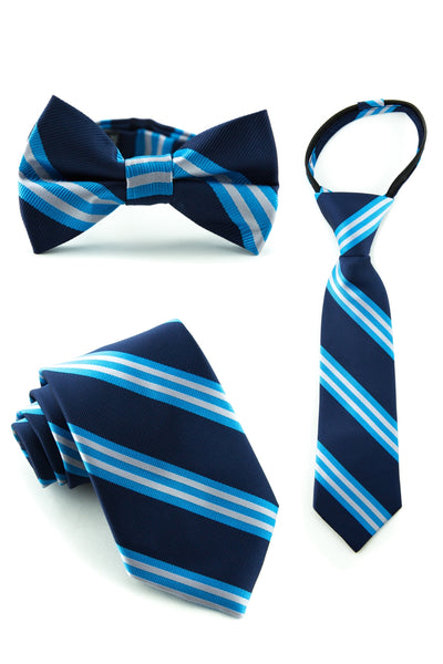 Aqua and Navy Stripe Tie