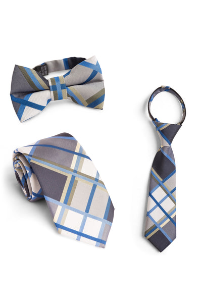 Azure and Black Plaid Tie
