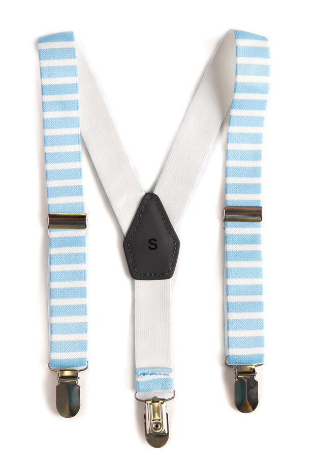 Blue and White Horizontal Stripe Suspenders