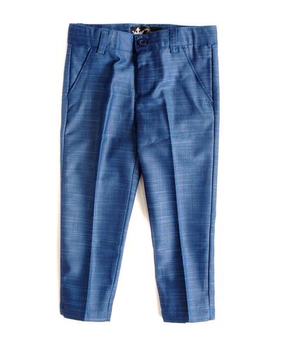 Blue Slim Fit Dress Pants
