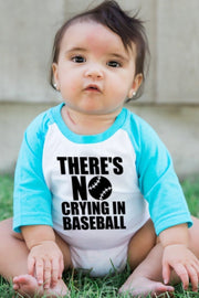 No Crying In Baseball Turquoise Half Sleeve Raglan Bodysuit