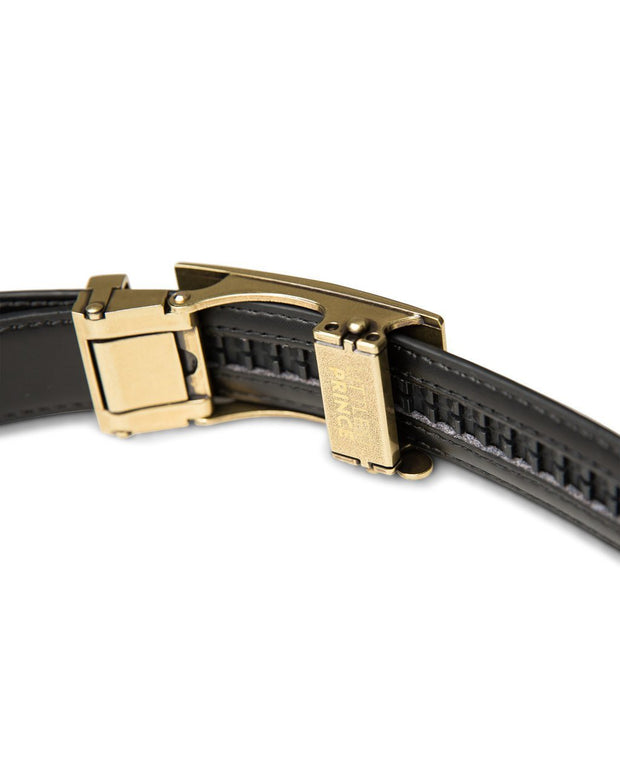 Black Zipper Belt with Brass Buckle