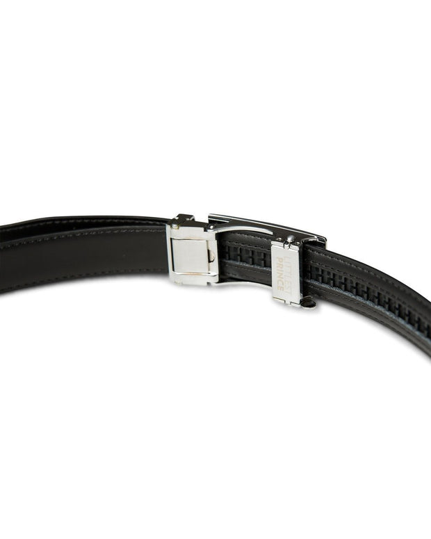 Black Zipper Belt with Silver Buckle