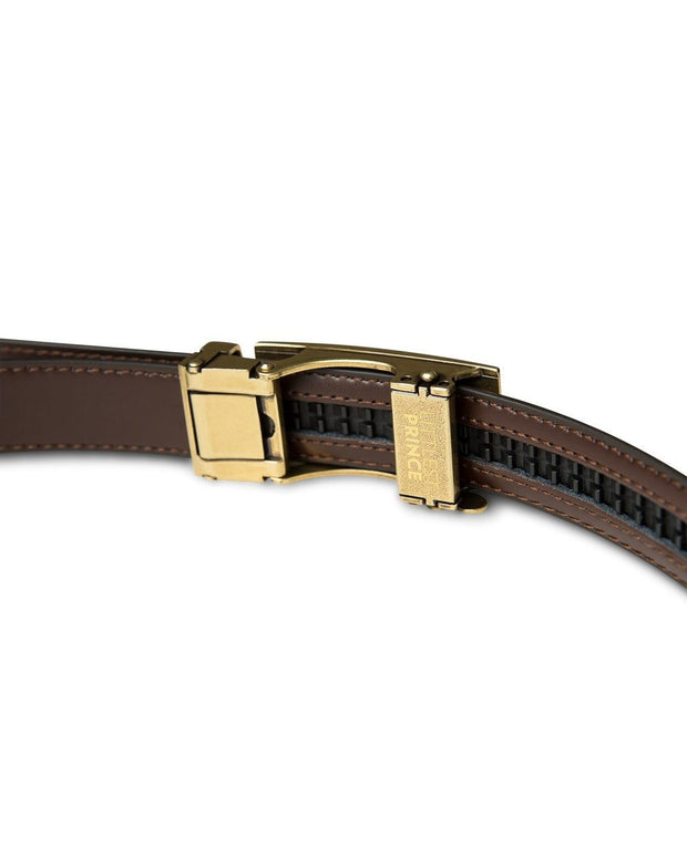 Dark Brown Zipper Belt with Brass Buckle