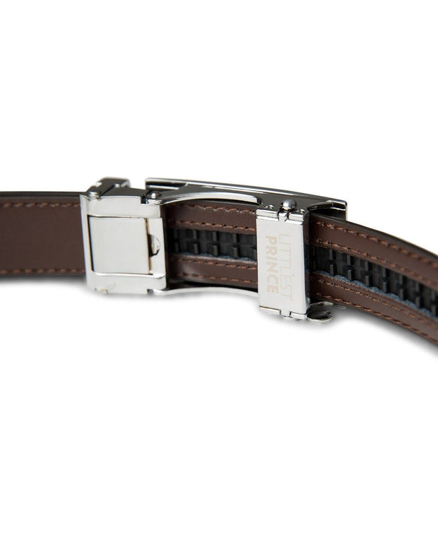 Dark Brown Zipper Belt with Silver Buckle