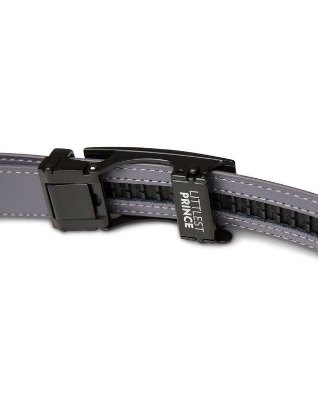 Gray Zipper Belt with Matte Black Buckle