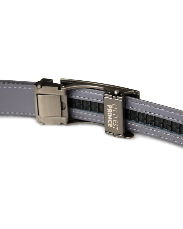 Gray Zipper Belt with Gun Metal Buckle