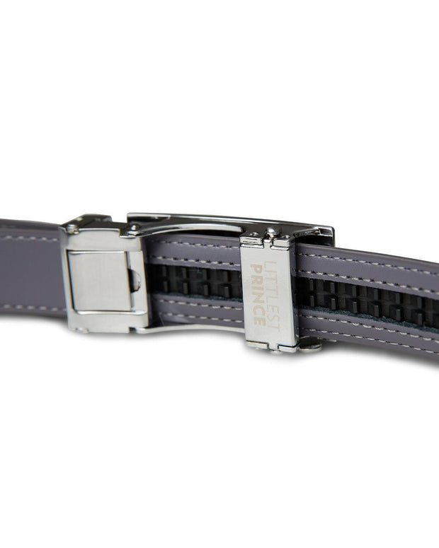 Gray Zipper Belt with Silver Buckle