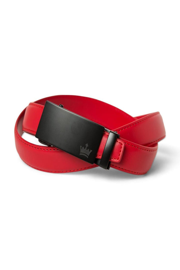 Red Zipper Belt with Matte Black Buckle