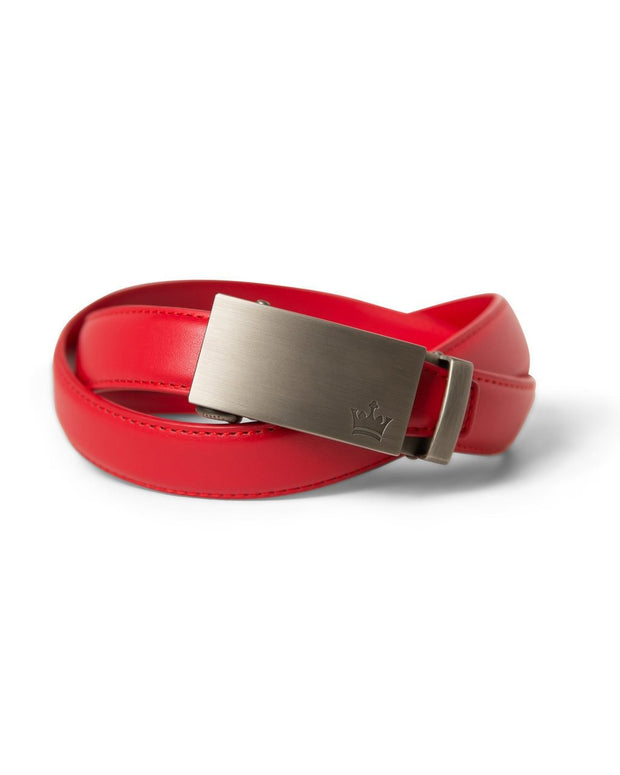 Red Zipper Belt with Gun Metal Buckle