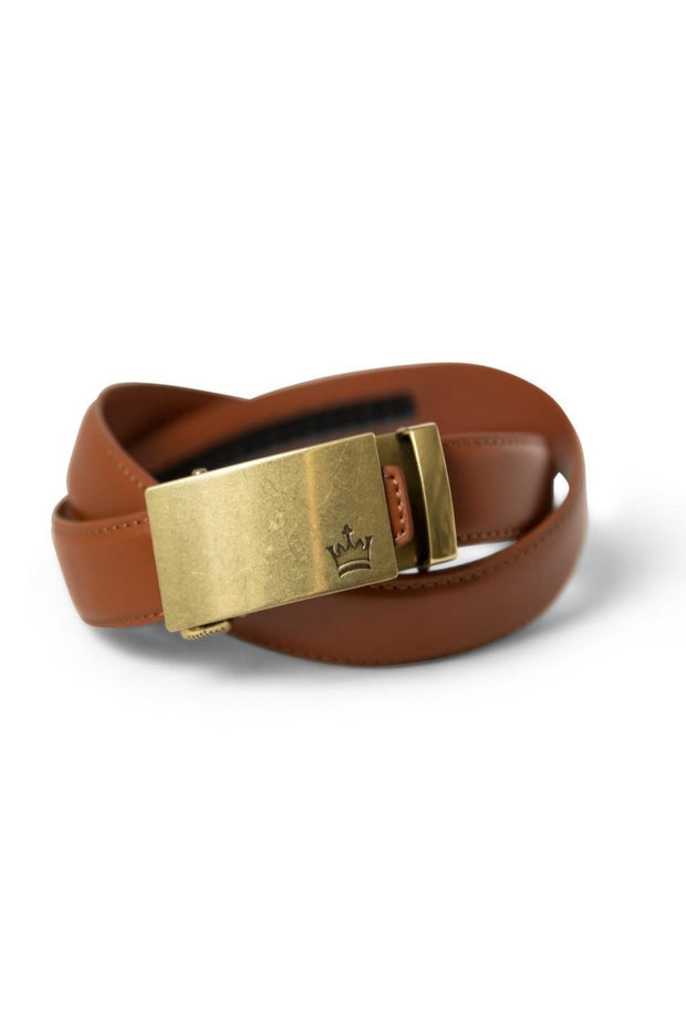 Tan Zipper Belt with Brass Buckle