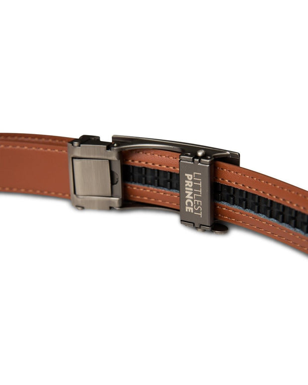 Tan Zipper Belt with Gun Metal Buckle
