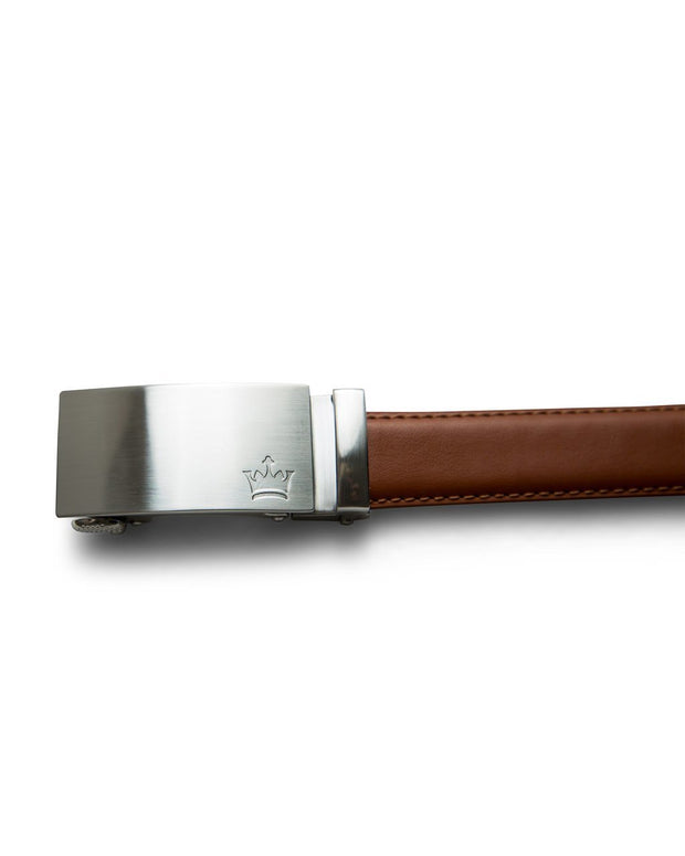 Tan Zipper Belt with Silver Buckle
