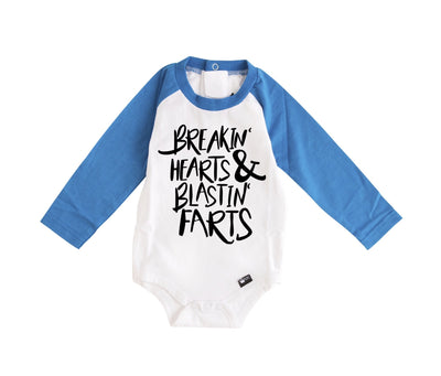 Breakin' Hearts & Blastin' Farts Long Sleeve Royal Blue Raglan Bodysuit