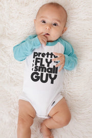 Pretty Fly Long Sleeve Aqua Raglan Bodysuit