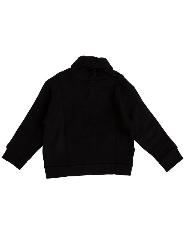 Black Button Shawl Collar Sweatshirt