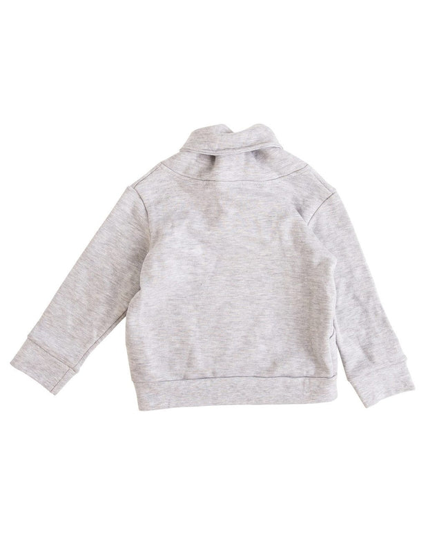 Gray Button Shawl Collar Sweatshirt