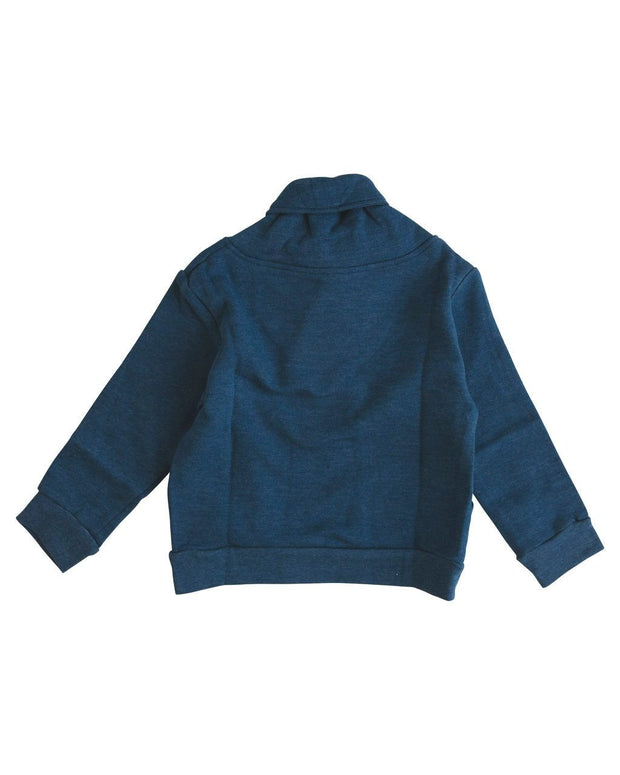 Navy Button Shawl Collar Sweatshirt