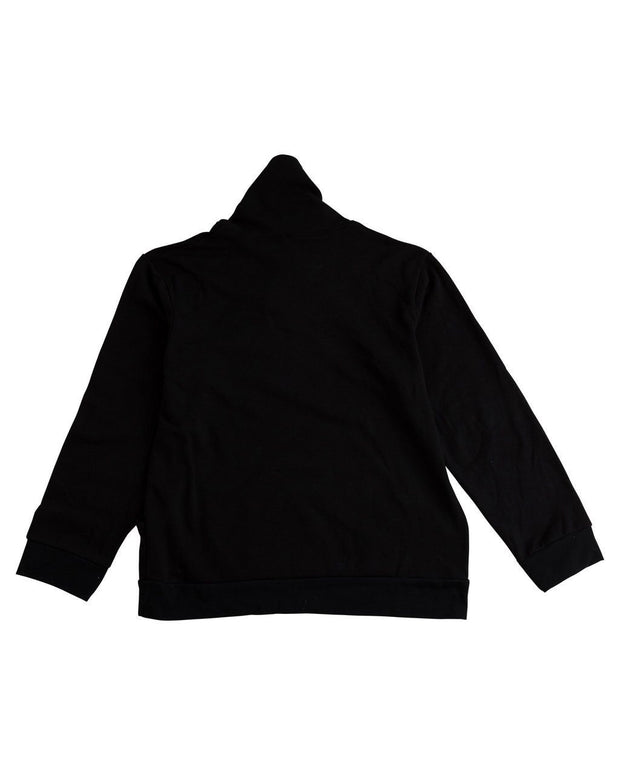 Black Men's Button Shawl Collar Sweatshirt