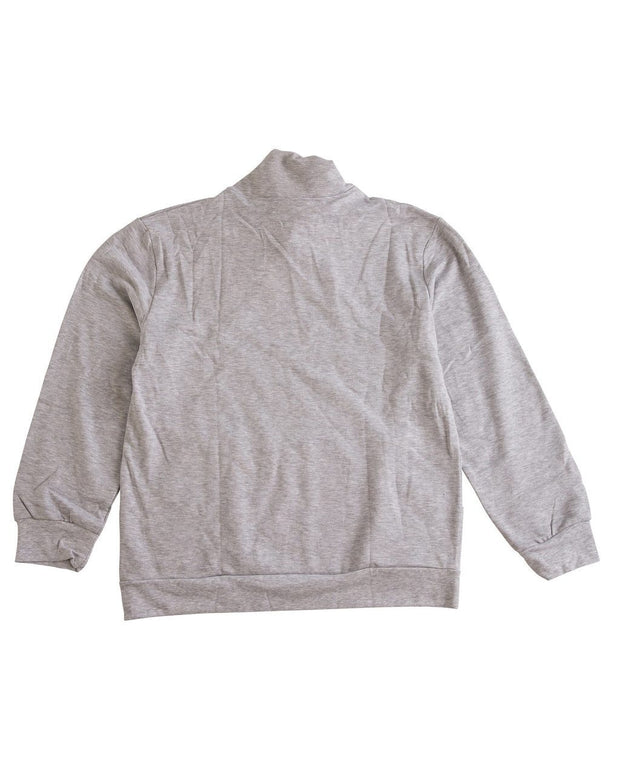 Gray Men's Button Shawl Collar Sweatshirt
