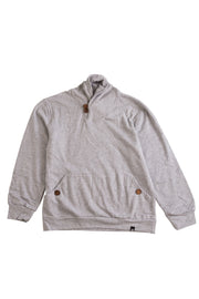 Button Shawl Collar Sweatshirt