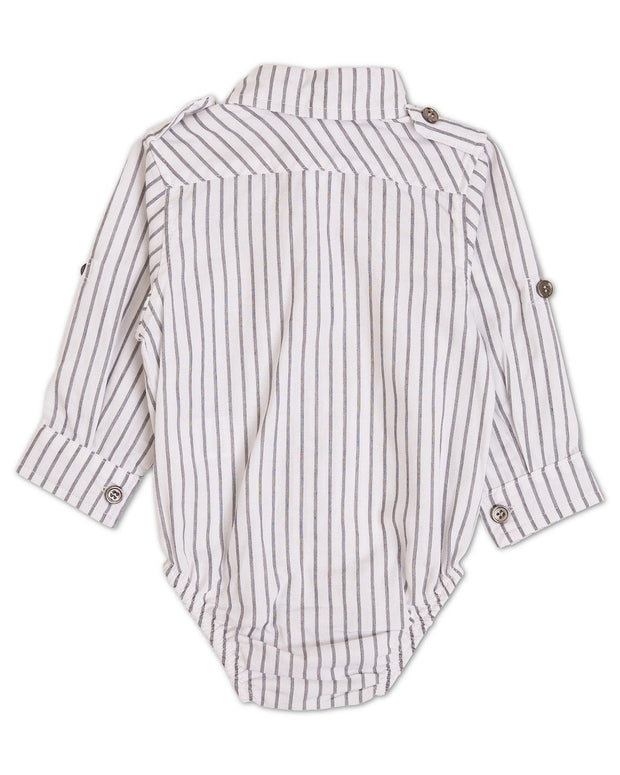 Gray Stripe Button Sleeve Dress Shirt Bodysuit