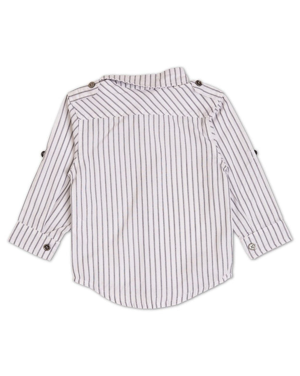 Charcoal Stripe Button Sleeve Dress Shirt