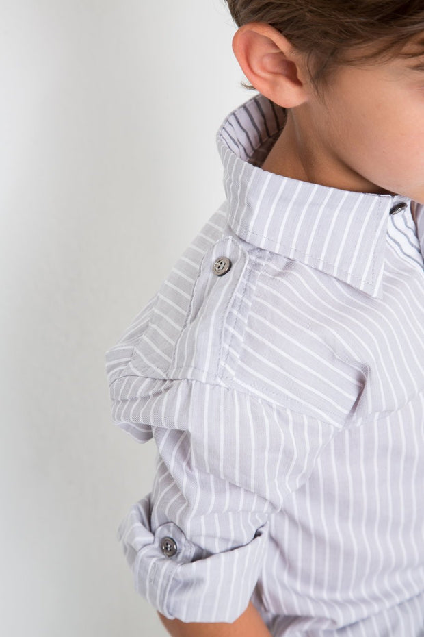 Gray Stripe Button Sleeve Dress Shirt