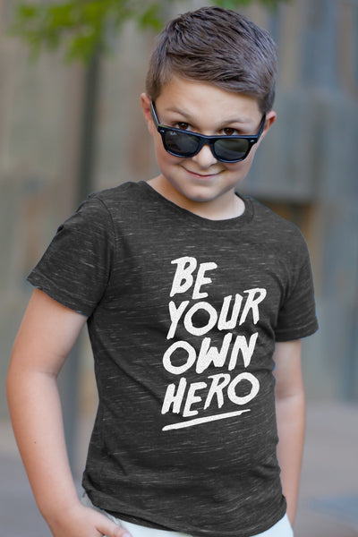 Be Your Own Hero Charcoal Crew Neck Tween Tee