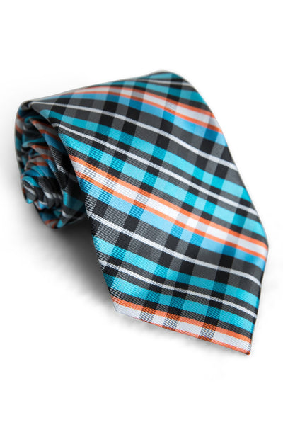 Black & Blue Dart Plaid Tie