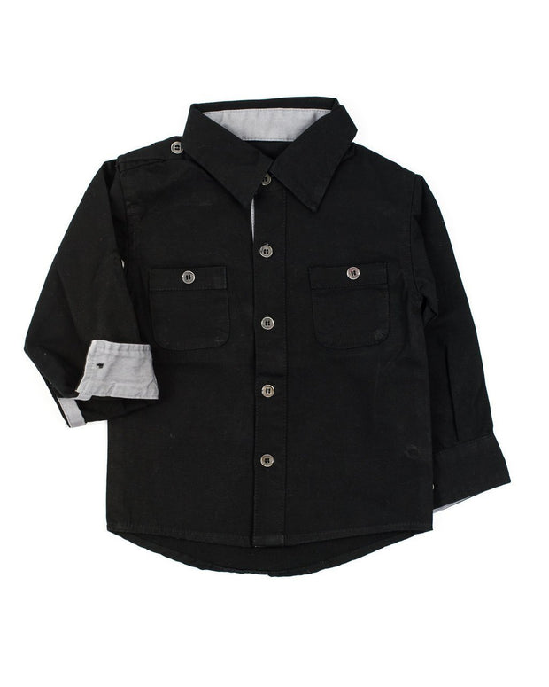 Long Sleeve Black Canvas Dress Shirt
