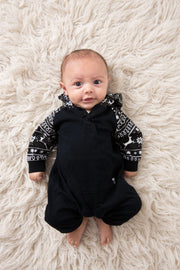 Black Nordic Hooded Raglan Romper