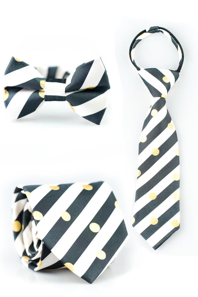 Black, White, and Gold Dots Tie