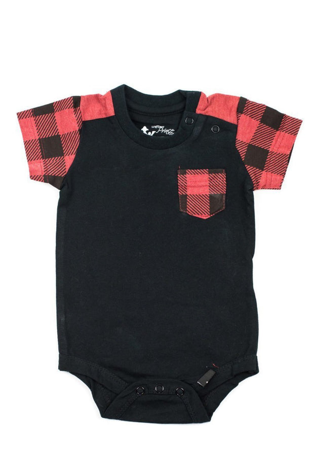 Black & Red Buffalo Pocket Bodysuit