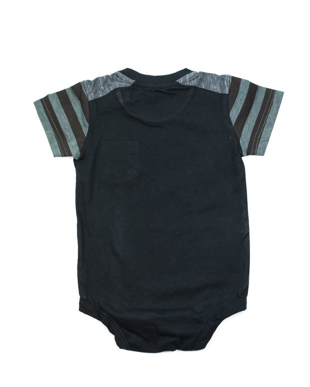 Black & Charcoal Stripe Pocket Bodysuit
