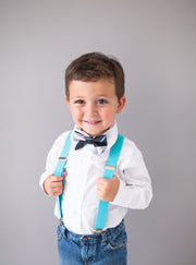Silver and Black Stripe Bow Tie (Boys and Men)