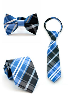 Black and Blue Plaid Tie