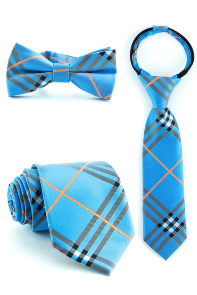 Blue and Tangerine Plaid Tie