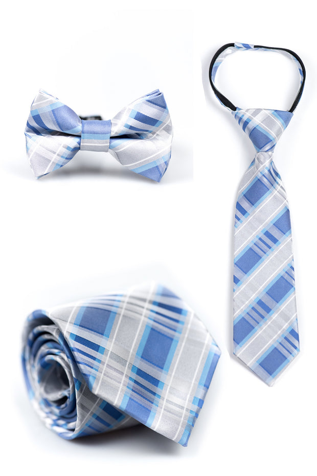 Bright Blue and Silver Plaid Tie