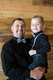 Bright Blue and Silver Plaid Bow Tie (Boys and Men)