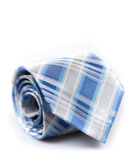 Bright Blue and Silver Plaid Standard Necktie