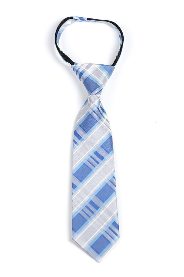 Bright Blue and Silver Plaid Zipper Tie