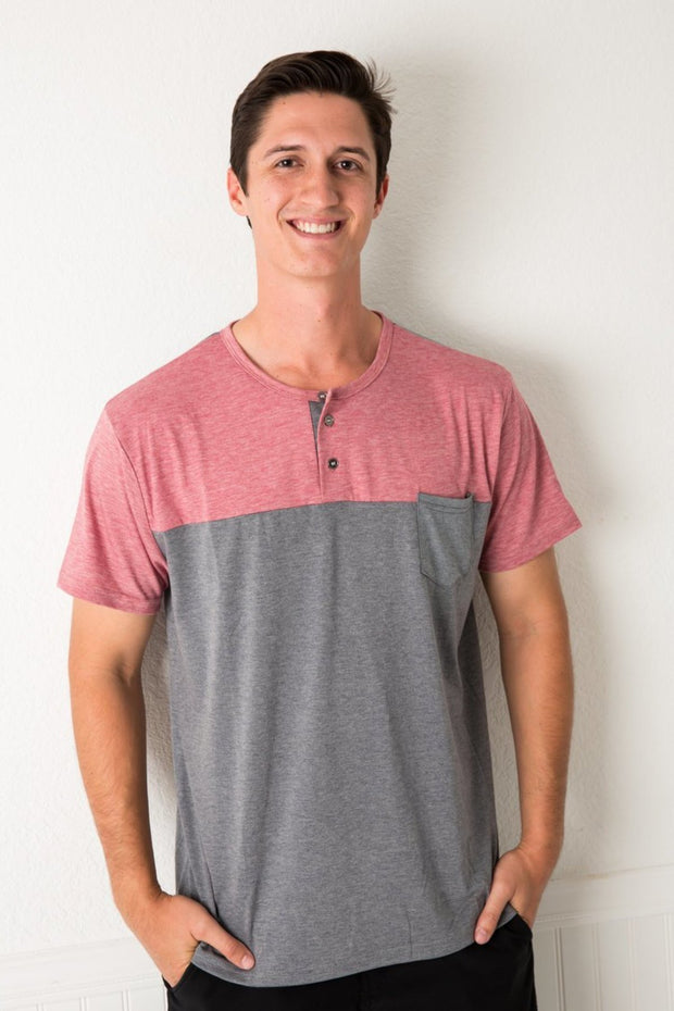Red & Ash Color Block Henley Men's Tee