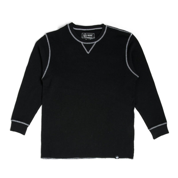 Black Men's Contrast Stitching Thermal Shirt