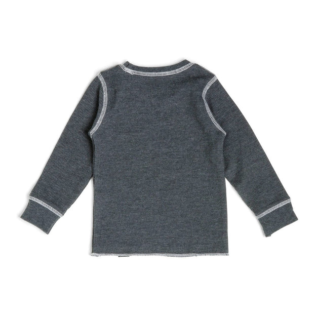 Charcoal Contrast Stitching Thermal Shirt