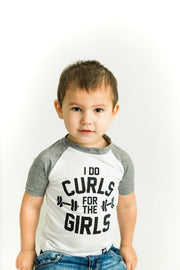 I Do Curls Gray Raglan Shirt