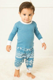 Blue Snowflake Infant Pajama Romper (Style A)