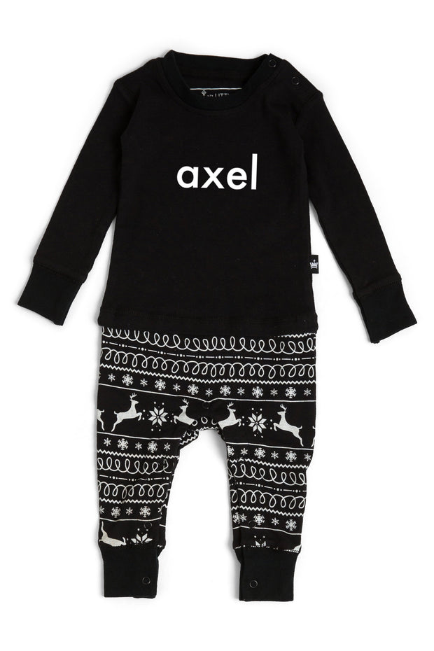 Black Nordic Matching Family Pajamas - Personalized Add-On