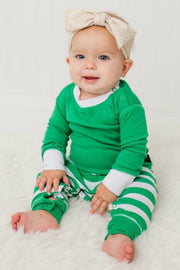 Green Stripe Infant Pajama Romper (Style A)